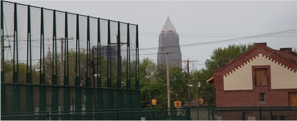League Park and Cleveland skyline